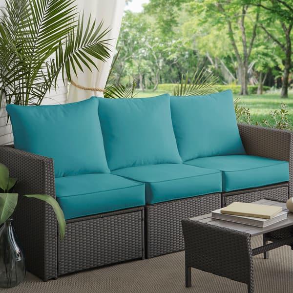 Morgantown Aqua Blue Indoor Outdoor Corded Sofa Cushion Set By Havenside Home Overstock 11460082