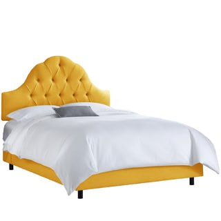 Skyline Furniture French Yellow Linen Arched Tufted Bed