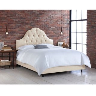 Skyline Furniture Arched Tufted Bed in Linen Talc