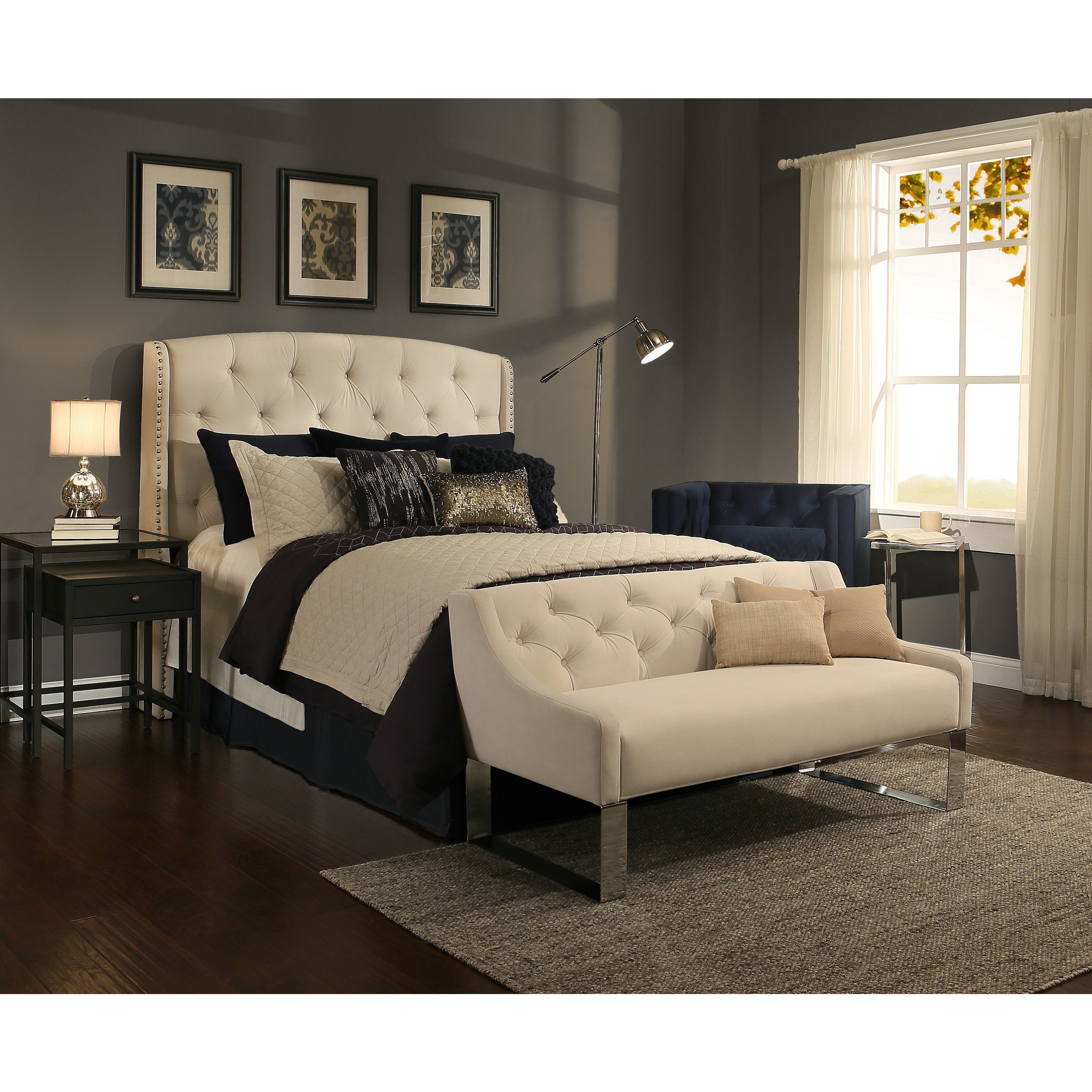 Gracewood Hollow Zusak Ivory Tufted Upholstered Wingback Bedroom Collection With Sofa Bench Option