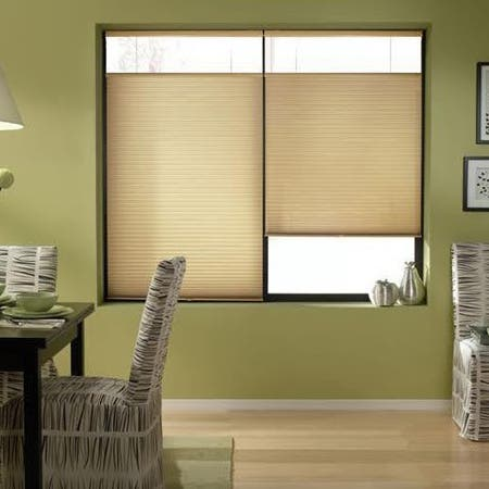 First Rate Blinds Leaf Gold 26 to 26.5-inch Wide Cordless Top Down Bottom Up Cellular Shades