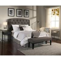 Gracewood Hollow Zusak Grey Tufted Upholstered Wingback Headboard/ Bench Collection