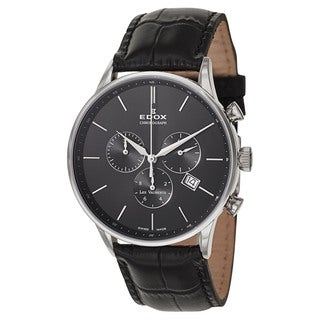 Edox Men's 10408-3N-NIN Leather Watch