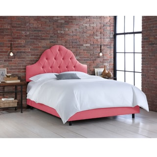 Skyline Furniture Coral Linen Arched Tufted Bed