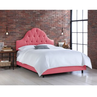 Silver Orchid Auer Coral Linen Arched Tufted Bed