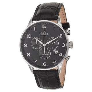Edox Men's 10408-3N-NBN Leather Watch