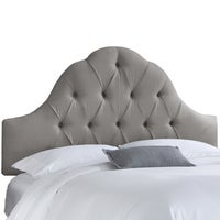 Skyline Furniture Grey Linen Arch Tufted Headboard