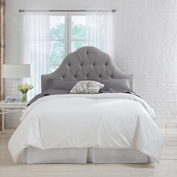 Skyline Furniture Grey Linen Arch Tufted Headboard