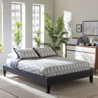 Baxton Studio Leonidas Modern and Contemporary Grey Fabric Upholstered Platform Bed Frame with Tapered Legs