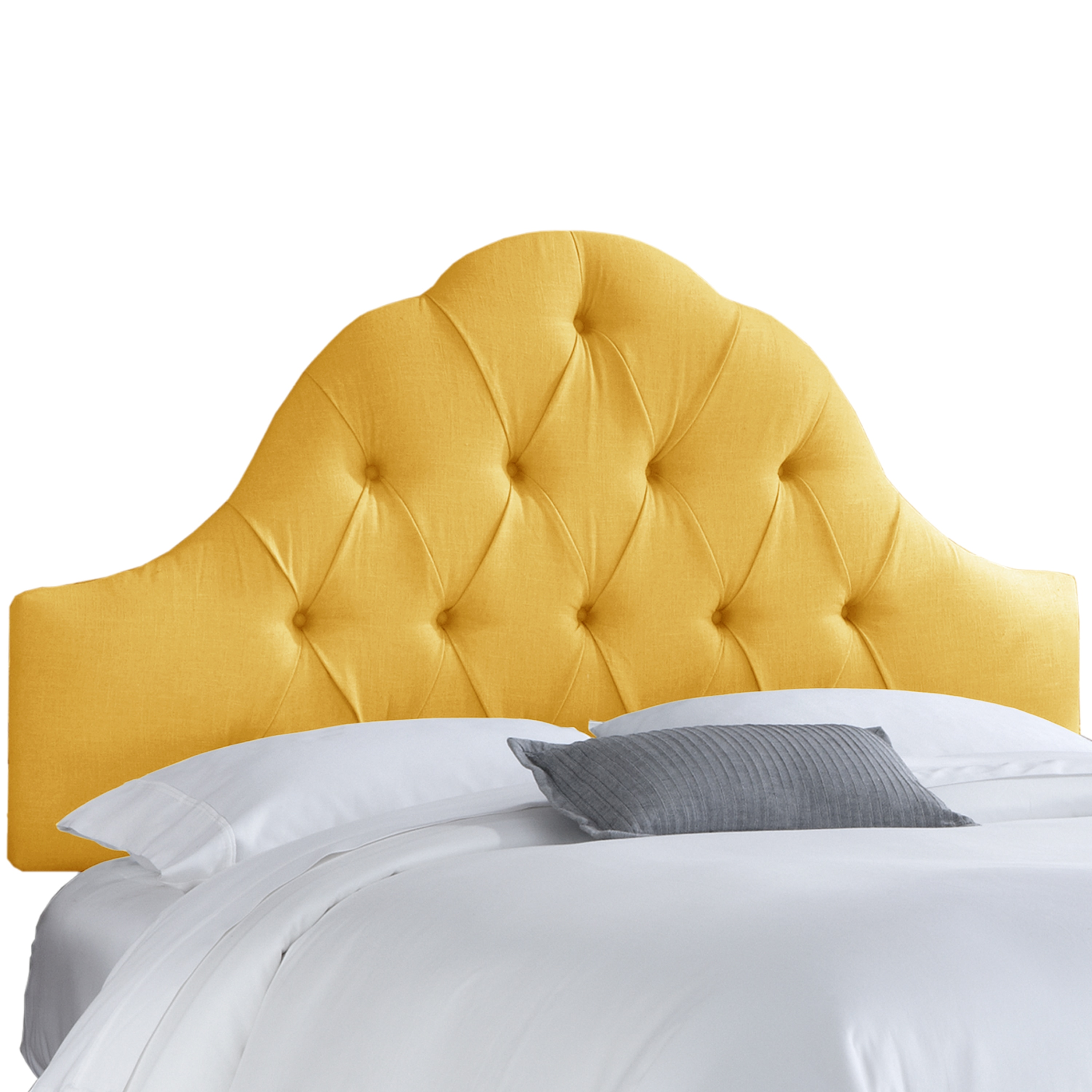 low priced ef71f 4f198 Skyline Furniture French Yellow Linen Arch Tufted Headboard