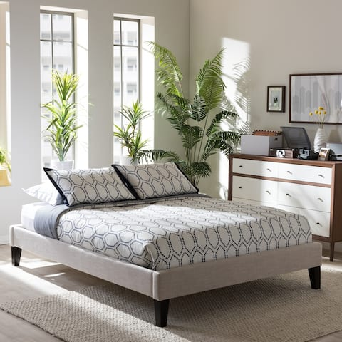 Porch & Den Kupeke Modern Beige Linen Blend Fabric Upholstered Platform Bed