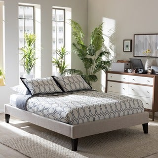 Baxton Studio Leonidas Modern and Contemporary Beige Linen Fabric Upholstered Platform Bed Frame with Tapered Legs