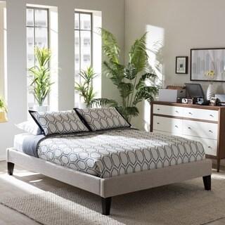 Clay Alder Home Kupeke Modern Beige Linen Fabric Upholstered Platform Bed