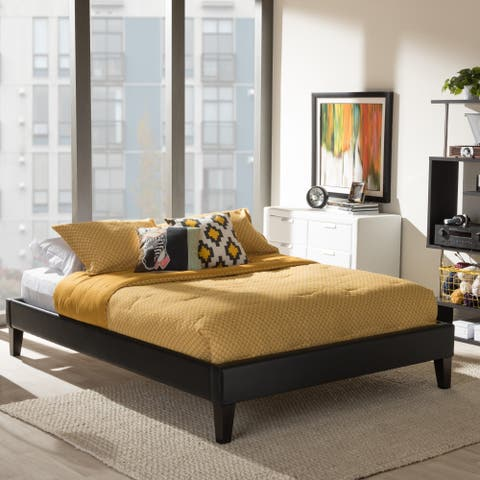 Porch & Den Kupeke Modern Black Faux Leather Upholstered Platform Bed