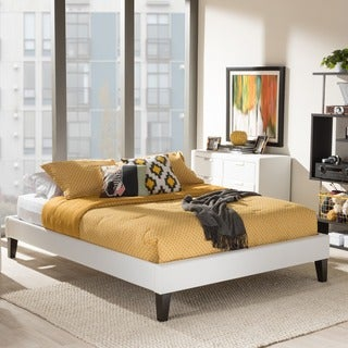 Baxton Studio Leonidas Modern and Contemporary White Faux Leather Upholstered Platform Bed Frame with Tapered Legs