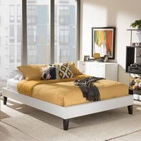 Baxton Studio Leonidas Modern White Faux Leather Upholstered Platform Bed