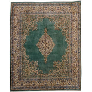 Herat Oriental Persian Hand-knotted 1950's Semi-antique Kerman Green/ Ivory Wool Rug (8'10 x 10'11)
