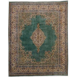 Herat Oriental Persian Hand-knotted 1950's Semi-antique Kerman Green/ Ivory Wool Rug (8'10 x 10'11)