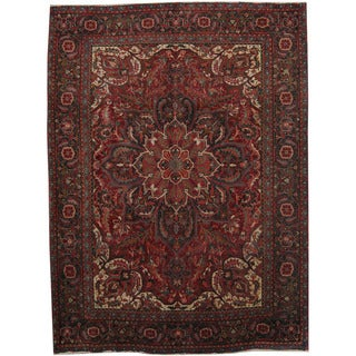 Herat Oriental Persian Hand-knotted 1960s Semi-antique Heriz Wool Rug (8'2 x 11')