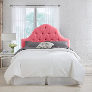 Silver Orchid Auer Coral Linen Arch Tufted Headboard