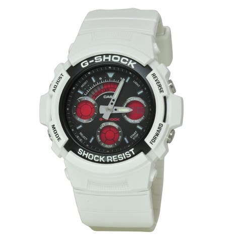 Casio Men's AW591SC-7A 'G-Shock' Chronograph, Time Zone White Resin Watch
