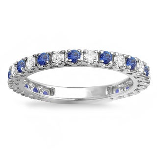 Elora 14k White Gold Round Blue Sapphire and 1ct TDW White Diamond Stackable Ring Wedding Band (H-I, I1-I2