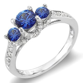 Elora 14k White Gold 1ct TDW Round Diamond and Blue Sapphire 3-stone Bridal Engagement Ring (H-I, I1-I2)