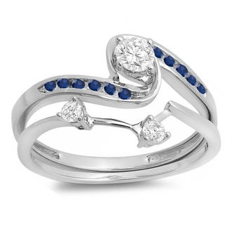 10k White Gold Blue Sapphire and 1/2ct TW Diamond Swirl Bridal Set (H-I, I1-I2)