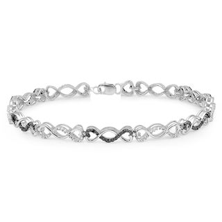 Sterling Silver 1/4ct TDW Round Black And White Diamond Infinity Tennis Link Bracelet (I-J and Black, I2-I3 and Opaque)
