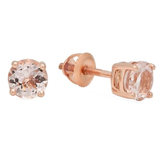 Elora 10k Rose Gold 3/8ct Round Cut Morganite Solitaire Stud Earrings (Pink, Moderately Included)