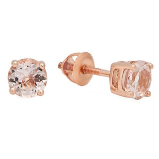 10k Rose Gold 3/8ct Round Cut Morganite Solitaire Stud Earrings (Pink, Moderately Included)