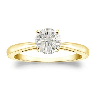 Auriya 18k Gold 3/4ct TDW Round-cut Diamond Solitaire Engagement Ring