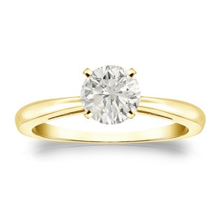 Auriya 18k Gold 3/4ct TDW Round-cut Diamond Solitaire Engagement Ring (J-K, I1-I2)