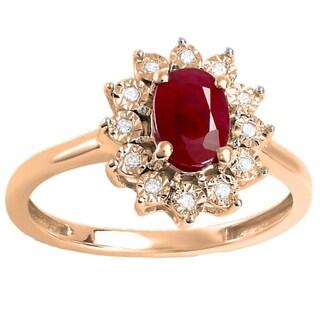 10k Gold 1 1/10ct TDW Round Diamond and Oval Ruby Engagement Ring (I-J, I2-I3)