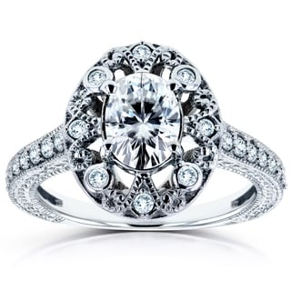 Annello 14k Gold 7/8ct Forever Brilliant Moissanite and 1/4ct TDW Diamond Floral Antique Halo Engagement Ring (H-I, I2)