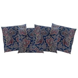 Navy Blue Floral Slim Chair Pad 4-Pack