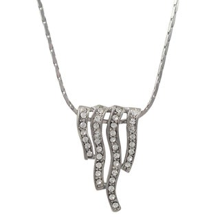 Luxiro Rhodium Finish Pave Crystals Wave Pendant Necklace