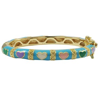 Luxiro Gold Finish Aqua Blue and Multi-color Enamel Heart Children's Bangle Bracelet