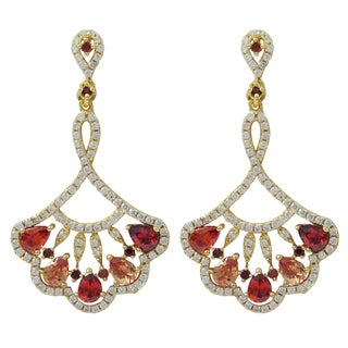Luxiro Gold Finish Sterling Silver Red and Champagne Cubic Zirconia Fan Dangle Earrings
