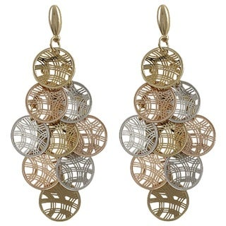 Luxiro Tri-color Gold Finish Circles Chandelier Dangle Earrings