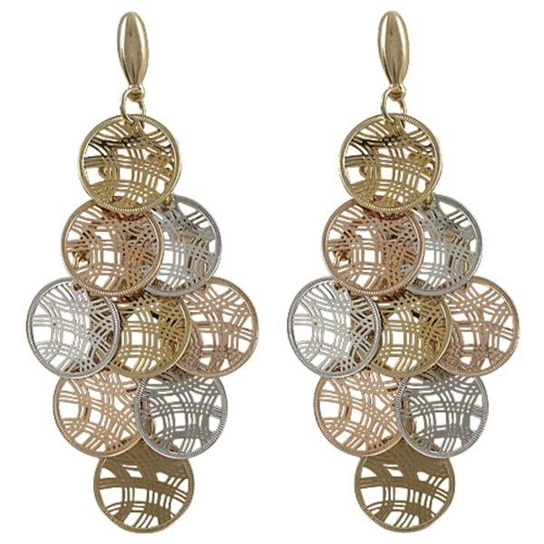 Luxiro tri color gold finish circles chandelier dangle earrings luxiro tri color gold finish circles chandelier dangle earrings aloadofball Image collections