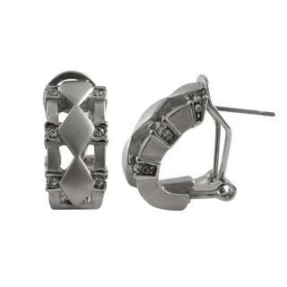 Luxiro Matte Rhodium Finish Pave Crystals Diamond Shape Earrings|https://ak1.ostkcdn.com/images/products/11460453/P18418001.jpg?impolicy=medium
