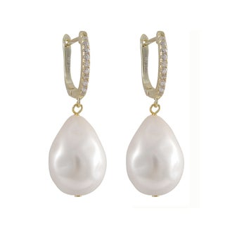 Luxiro Gold Finish Sterling Silver Shell Pearl and Cubic Zirconia Dangle Earrings