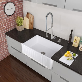 Vigo All In One 36 Matte Stone Farmhouse Kitchen Sink Set With Laurelton Faucet In Stainless
