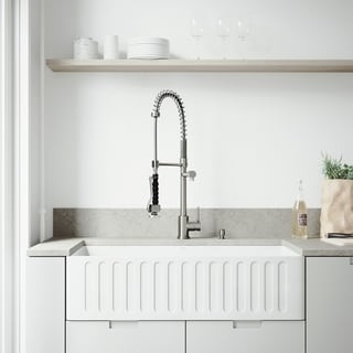 VIGO All In One 36 Inch Matte Stone Farmhouse Sink Zurich Faucet Set