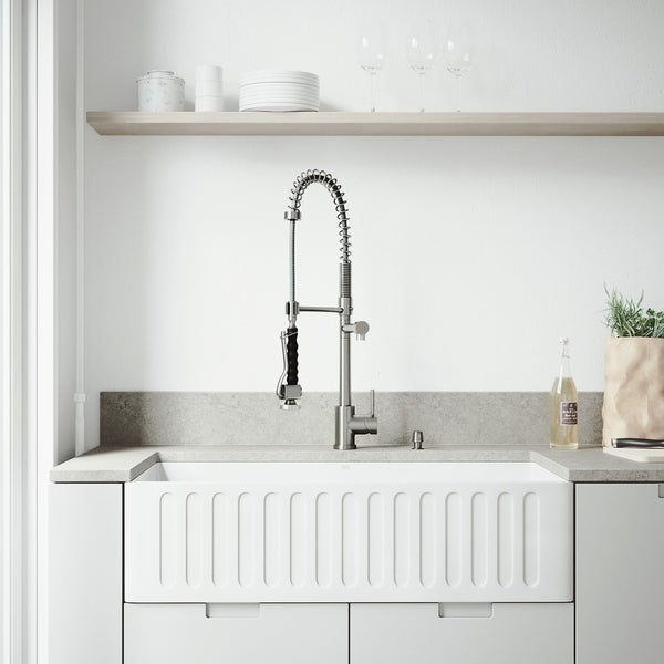Shop Vigo Matte Stone Farmhouse Kitchen Sink And Zurich Faucet Set