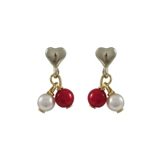 Luxiro Gold Finish Sterling Silver Freshwater Pearl Red Balls Children's Heart Dangle Earrings
