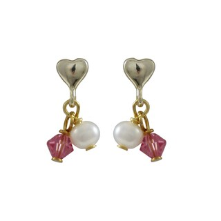 Luxiro Gold Finish Sterling Silver Freshwater Pearls Austrian Crystals Children's Heart Earrings