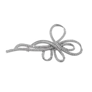 Luxiro Sterling Silver White Cubic Zirconia Ribbon Pin Brooch