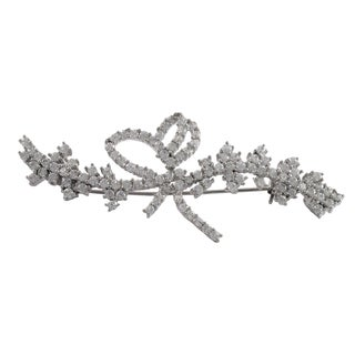 Luxiro Sterling Silver White Cubic Zirconia Floral Pin Brooch